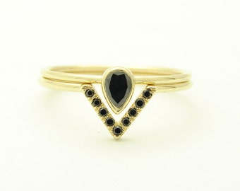 Black Pear Diamond Engagement Ring with Pave Black Diamonds Ring - Wedding Set Ring - Diamond Ring Set - 14k Solid Gold