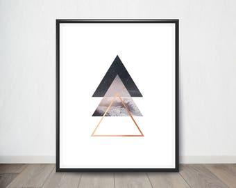 Geometric Triangle Print, Abstract Art, Triangle Art Printable, Printable Art, Modern Art, Scandinavian Wall Art, Minimalist Poster
