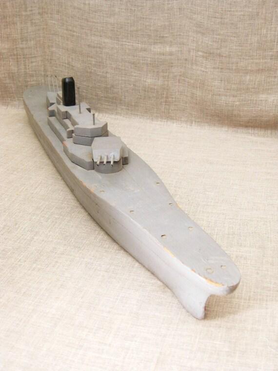 Vintage Handmade Folk Art Wooden Boat Battleship Military