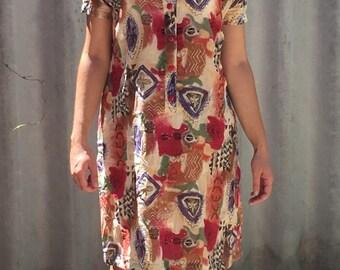 90s patterned shirt dress