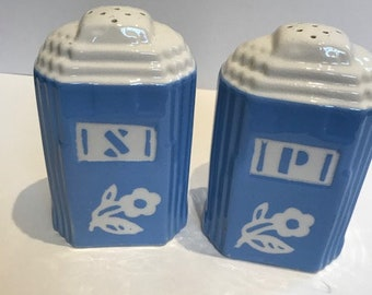 Pair of blue and white ceramic salt and pepper shakers