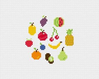 Tiny Fruits - Cross Stitch Pattern (PDF) - INSTANT DOWNLOAD