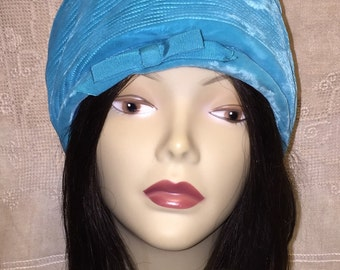 Vintage Mid Century Turquoise Blue Womens Velvet Velour Turban Bucket Style Hat Small
