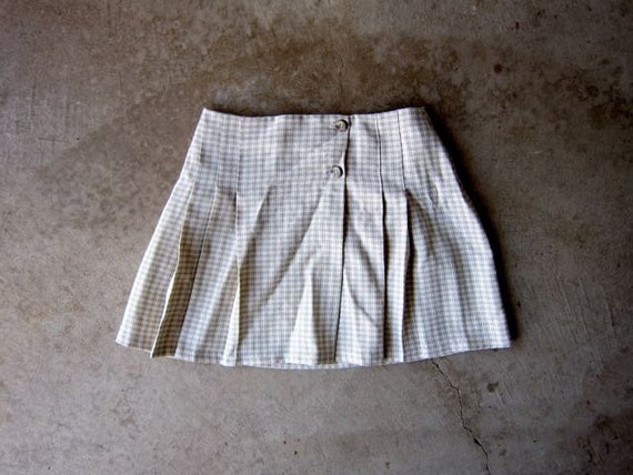 Vintage Wrap Skirt Beige Herringbone Print 90s Mini Skirt Modern Minimal Pleated Skirt High Waist Skirt Preppy Casual Womens Medium
