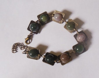 Bracelet 10 mm Indian agate and bronze