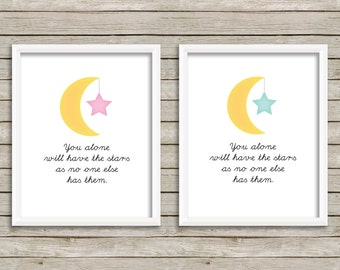 The Little Prince Print, The Little Prince Quote, You Alone Will Have The Stars Print. Baby Boy, Baby Girl, Nursery Wall Art (8x10)
