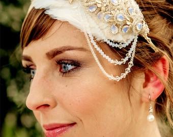 Hochzeit Kopfschmuck Braut Stirnband, ADELIA Perlen Kristalle mit 16K Gold, Verkauf