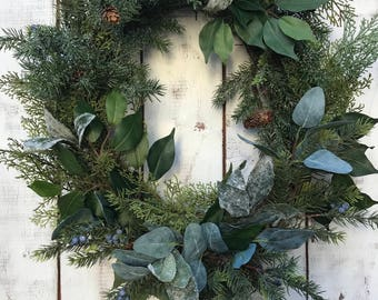Winter Wreath, Rustic Wreath, Farmhouse Winter, Rustic Decor, Holiday Wreath, Eucalyptus Wreath