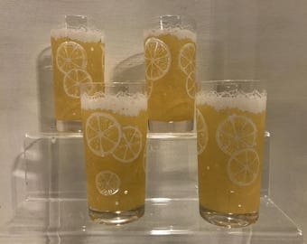 Vintage Set Of 6 Fred Press Frosted Yellow Lemon Highball Glasses