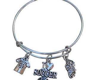 Soccer Bracelet -Soccer Gift- Soccer Bangle – Soccer Team Gift - Soccer - Perfect for Soccer Players, Soccer Coaches & Soccer Team Gifts