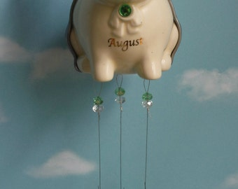 August Birthstone Flying Pig Wind Chime