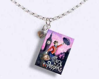 Mary Poppins with Tiny Heart Charm - Miniature Book Necklace - Style 2