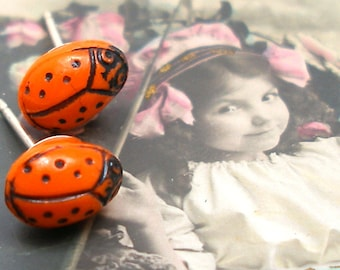 1920s Ladybug BUTTON earrings, Orange glass on sterling silver posts. Antique button jewellery. SALE.