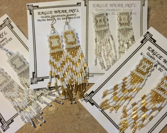 White/Silver OR White/Gold Seed Bead Long Earrings