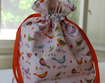 Small Knitting/Crochet Project Drawstring Bag - Chirp! Chirp! Colorful Birds