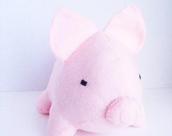 Large light pink pig stuffed animal