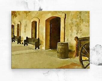 "Old San Juan Fort - San Juan Puerto Rico - Canvas Art Print - Puerto Rico Art - Puerto Rican Art - Travel Photo - Canvas Art 16""x20"""