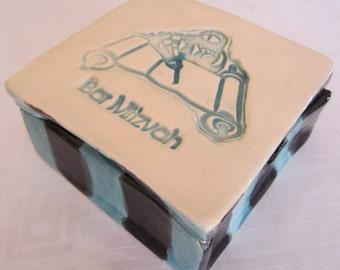 Bar Mitzvah Keepsake Ceramic Black, Blue and White Box Gift for Boy