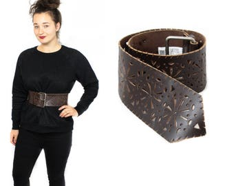 Waist belt, Leather belt, Cut out belt, Dark brown belt, Wide belt, 80s belt, Boho Belt, Gypsy belt,Buckle belt, Wide waist belt, Brown belt