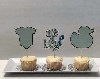 24 Baby Shower Cupcake Toppers-Boy