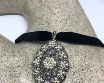Vintage Real Marcasite 925 Sterling Silver Pearl dangle Pendant Necklace
