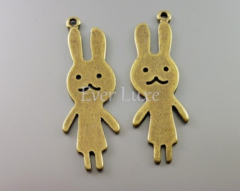 4 Large rabbit bunny charms, antiqued brass charms, jewelry pendants, necklace charms, findings, craft supplies AN070-B (AN brass, 4 pieces)