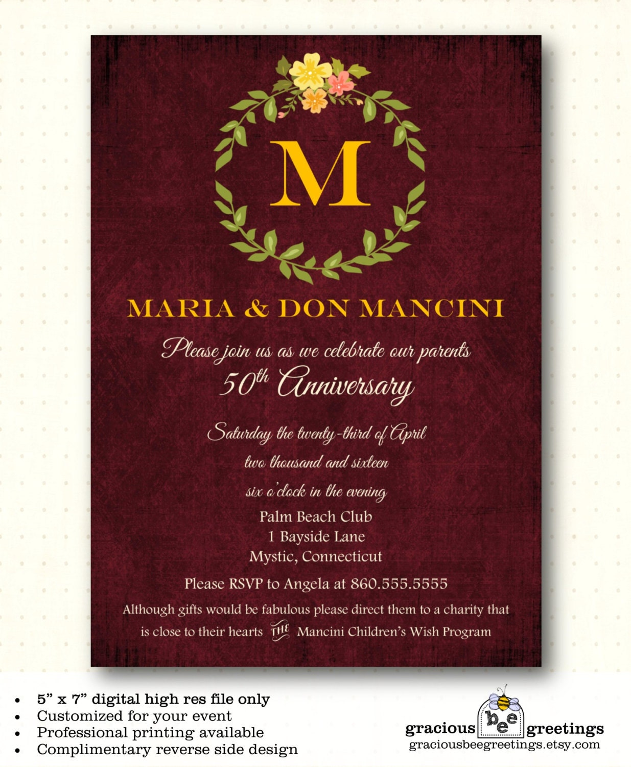 Anniversary Party Invitation vow renewal 25th 35th 40th