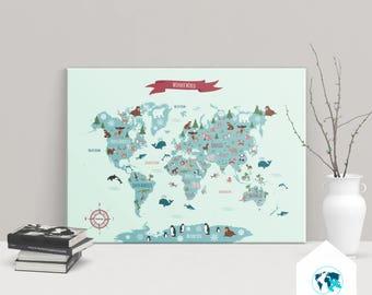 KIDS World Map, world map print, animal kids map, world map poster, children world map, kids room decor, canvas map,