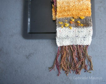 Handknit scarf / Bonfire Glow //  ooak   fringe  mixed quality fibres / orange / rust