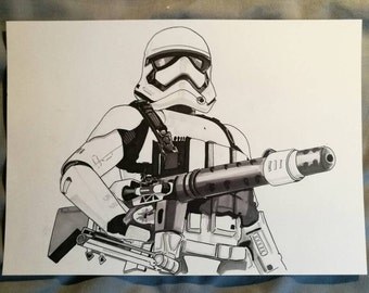 The First order Heavy Weapons Stormtrooper from Star Wars: The Force Awakens Ink Drawing