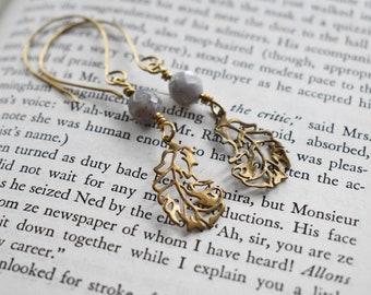 Brass Feather Earrings-Faceted Agate Wire Wrapped Earrings- Gemstone Bead Brass Earrings- Boho Brass Earrings- Gift for Her