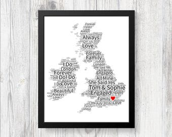 Personalised Map of Love UK Word Art Print Gift Keepsake Birthday Christmas Girlfriend Wife Boyfriend Husband World Engaged Wedding