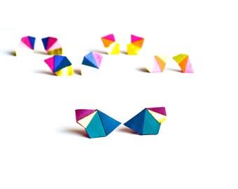Boucles d'oreilles triangles géométrique Turquoise et Fuchsia bloc de couleur en cuir