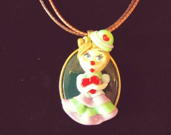 Hand Made Polymer Clay Clown Pendant Necklace