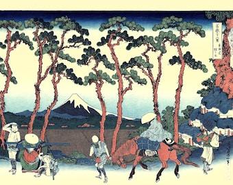 "Japanese Ukiyo-e Woodblock print, Hokusai, "" Hodogaya on the Tōkaidō"""