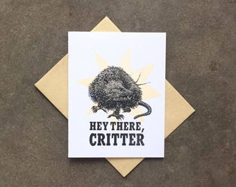 Card- Letterpress, Hey there, Critter! Opossum