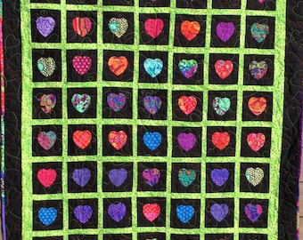 Heart Blanket of Kaffe Fassett fabrics