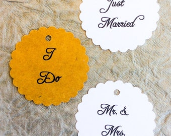 personalized Scallop tags, favor tags, wedding favors, product labels - 2 1/2 inch, set of 50