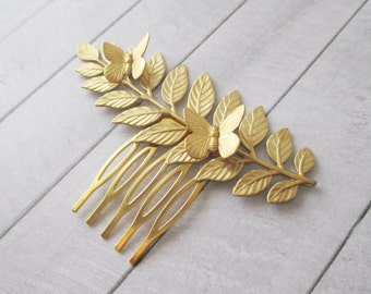 Gold Leaf with butterflies hair comb Raw Brass Laurel Leaf Hair accessories Wedding Bridesmaids Bridal Gifts for her Women Hair Accessories