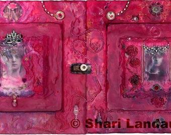 Art Print:Rose Ray Encaustic Painting-Divine Mother-Mary Magdalene-Sacred Feminine-Archangels-Ascended Masters-SacredArtByShari-Shari Landau