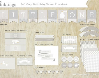Printable Decorations  // Baby Shower or First Birthday // Soft Grey Stork Collection