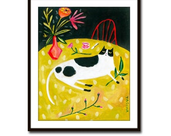 PRINT of black and white cat folk art painting CAT on a table with flowers on Chartreuse green tablecloth cat folk art fine print by Tascha