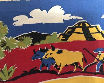 Vintage Startex Tablecloth/Mexican Theme/Bright Colors/Southwest/50 X 47