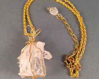 """Gold Quartz Crystal Pendant 2"""" Long on Gold Rope Adjustable Chain from 17"""" to 20.25"""" Long One of a Kind Previously 39 Dollars ON SALE"""