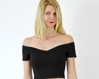 Coco Off Shoulder Sweetheart Crop Top. Summer Bardot Cropped Top. Fitted Support Top.  Black Crop Top