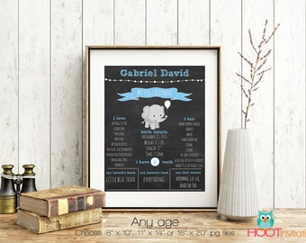 First Birthday Elephant Chalkboard Sign, Boys Memory board sign, Birthday Chalkboard poster, 1st Birthday Sign Blackboard one year old