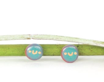 Smiley face earrings. Blue & gold studs. kawaii anime face. Terra-cotta jewelry. Happy fun earrings. Colorful studs. Gift for teen daughter.
