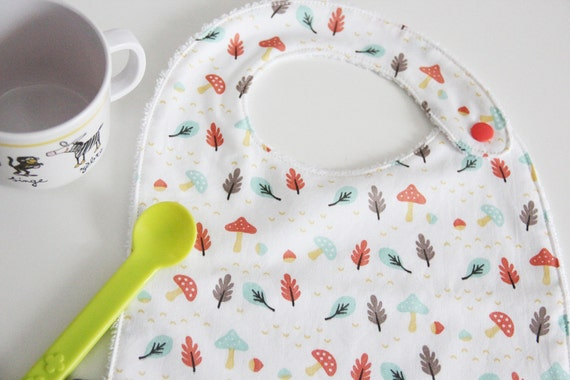 Baby bib - autumn - mushrooms - leaves - coral - turquoise - yellow - white - baby gift - baby shower - baby meal