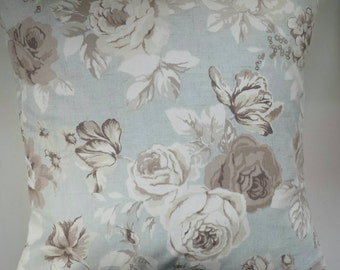 "Shabby Chic Cushion Cover in Vintage Blue Grey Roses 14"" 16"" 18"" 20"""