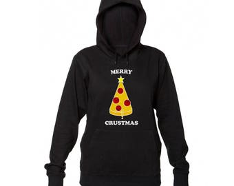 Merry Crustmas Funny Christmas Tree Made Of Delicious Pizza Slice Women's Hooded Sweatshirt